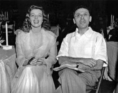 "Katharine Hepburn and George Cukor on the set of ""The Philadelphia Story"", (1940)."