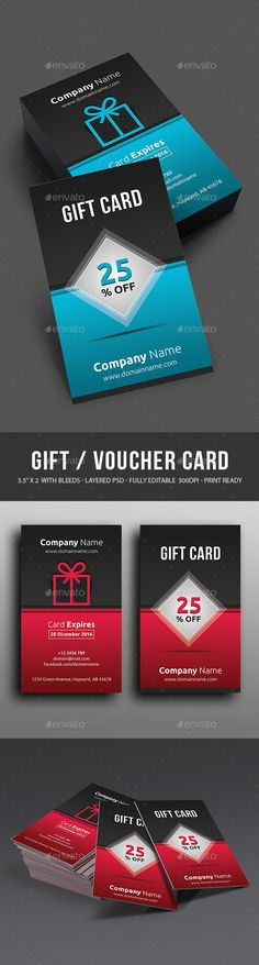 Buy Gift Card by themedevisers on GraphicRiver. Modern Gift Card Certificate This Gift Voucher Card is best suitable for promoting your business, product or service. Gift Card Template, Gift Certificate Template, Gift Certificates, Gift Voucher Design, Gift Box Design, Invitation Card Design, Invitation Cards, Invitations, Print Templates