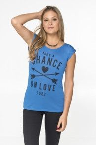 blue high-low tee