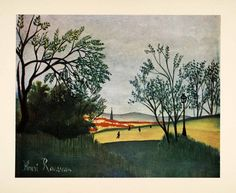 1951 Tipped-In Print Landscape City France Henri Rousseau Park Scenery XAF8