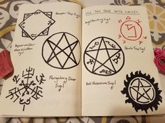 Wreck this Journal – Fill Page with Circles – Supernatural by Nimbusdust - Geek Stuff Frases Supernatural, Supernatural Crafts, Supernatural Symbols, Supernatural Series, Supernatural Drawings, Supernatural Bloopers, Supernatural Imagines, Supernatural Wallpaper, Winchester Supernatural
