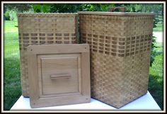 Custom Laundry Baskets - Hand Woven with Natural and Smoked Reeds.  Cabinet Grade Quality Alder Wood Lids with Walnut Inlay Handles.   www.brightexpectationsbaskets.com