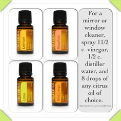 DIY natural window or mirror cleaner with dōTERRA Lemon, Lime, Grapefruit or Wild Orange essential oils. Clean effectively and with refreshing, invigorating aromas!   http://mydoterra.com/essentiallydenise  https://www.facebook.com/dkdoterra