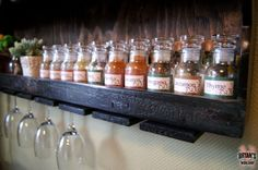 DIY Wood Spice Rack With A Pallet Wine Glass Holder - I like the bottles
