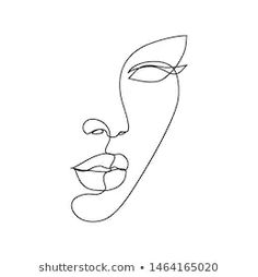 Face Line Art Images, Stock Photos & Vectors | Shutterstock Line Drawing Images, Face Line Drawing, Woman Drawing, Drawing Faces, Images To Draw, Drawing Women, Contour Drawing, Art Faces, Drawing Hair