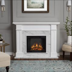 Real Flame Kipling Electric Fireplace in White with Faux Marble - With clean lines and a textured faux slate or faux marble ?rebox surround, the Kipling Fireplace features authentic craftsman appeal, suitable for virtually any space. Family Room, Home, Fireplace Surrounds, Marble Fireplaces, Fireplace Design, Indoor Fireplace, Fireplace Mantels, Portable Fireplace