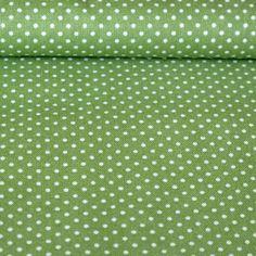 Bavlněná látka Bílý puntíček na zelené