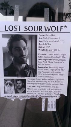 Lost Sour Wolf flyer at a Teen Wolf event