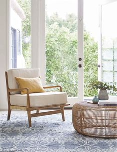 Sunroom Furniture, Cane Furniture, Rattan Coffee Table, Round Coffee Table, Living Room Accents, Accent Chairs For Living Room, Living Room Shop, Living Room Decor, Coastal Living Rooms