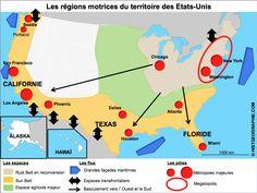 Carte des régions motrices du territoire des Etats-Unis. Source: © HISTGEOGRAPHIE.COM