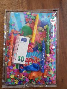 Geburtstagskarte genäht. (Aus Klarsichthülle )