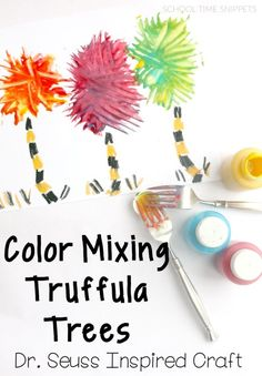 Truffula Trees STEAM Craft Learn about primary and secondary colors while creating your own Truffula Trees inspired by Dr. Suess' The Lorax. Dr Seuss Stem, Dr Seuss Art, Dr Seuss Crafts, Dr. Seuss, Mixing Primary Colors, Primary And Secondary Colors, Color Mixing, Der Lorax, Dr Seuss Activities
