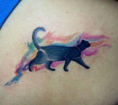 cat watercolor tattoo