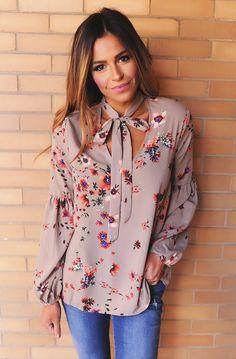 Taupe Floral Tie Neck Blouse - Dottie Couture Boutique