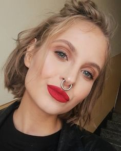Beauties with strong personality and expression and stretched septum rings from Feel free to submit your own facial pictures to express yourself. Piercings For Girls, Body Piercings, Piercing Tattoo, Tattoed Girls, Inked Girls, Stretched Septum, Facial Pictures, Philtrum, Nose Jewelry