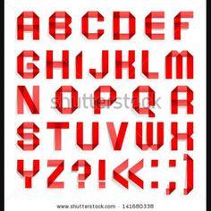 Alphabet folded of red paper - Roman alphabet A, B, C, D, E, F, G, H, I, J, K, L, M, N, O, P, Q, R, S, T, U, V, W, X, Y, Z Vector version ep...