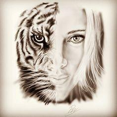 Tiger face girl tattoo design by Robert wolfs