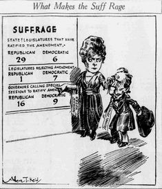 Suffrage cartoon by A. T. Reid from the Minneapolis Tribune, showing the tally of suffrage states by political parties as of July 16, 1920. The man represents southern Democrats who had a reputation for being anti-suffrage. Image: Minnesota Historical Society Newspaper Collection. Anti Suffrage, Minnesota Historical Society, Minneapolis, Newspaper, 1920s, Southern, Politics, Parties, Cartoon