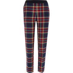 Red tartan check cigarette pants - cigarette trousers - trousers - women