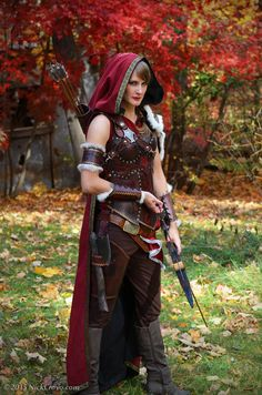 Original Little Red Wolf Hunter costume. Leather and fabric. - Flicker Fire Leather & Glass