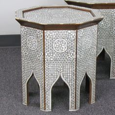 Style # 1633 Hand-inlaid Syrian / Moroccan Side table with Mother of pearl.