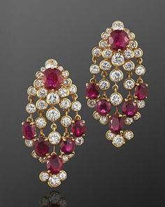 Ruby and Diamond Chandelier Earrings,