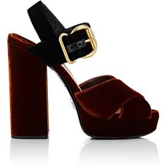 Prada Women's Colorblocked Velvet Platform Sandals ($825) ❤ liked on Polyvore featuring shoes, sandals, heels, brown, brown strappy sandals, strappy platform sandals, brown high heel sandals, high heel shoes and high heeled footwear