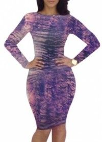 Coquettish Printed Long Sleeve Cutout Back Tight Dress - Online Shop! : Online Shop!
