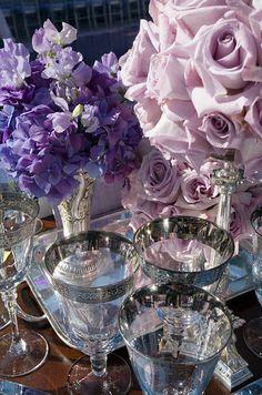 purple hydrangeas and lavender roses arrangements