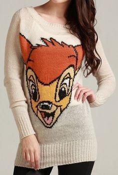 Beige Long Sleeve Deer Print Pullovers Sweater
