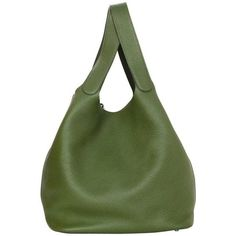 Preowned Hermes Olive Green Clemence Leather Xl Picotin Lock Tgm Bag... (£1,850) ❤ liked on Polyvore featuring bags, handbags, green, oversized purses, hermes purse, genuine leather purse, green handbags and genuine leather handbags