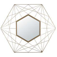 Miroir en fil de métal doré 71x81cm ARTY