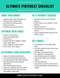 Pinterest is FREE and a HUGE traffic source for your blog. Use this checklist and tips to get your Pinterest sparkling and increase blog traffic.