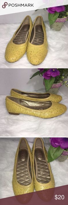 Me Too Yellow Floral Imprinted Ballet Flats Great condition with minor signs of wear me too Shoes Flats & Loafers