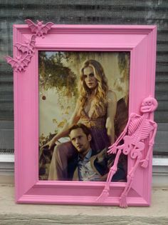 pink skeleton halloween frame by CheeseCrafty on Etsy, $13.00