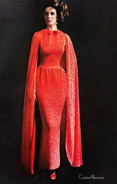 Red dress with cape by Pauline Trigere.  All-in-one corselet by Warner's. Both photos from a 2-page ad for Warner's in Harper's Bazaar, 1961.
