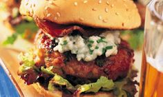Chicken Burgers with Blue Cheese Mayonnaise  - I bet these taste fabulous. Definitely one to try next time we have warm weather.