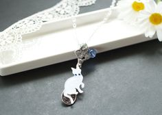 Spoon Cat Necklace with a Healing Stone Cat by CalalaSpoonCat