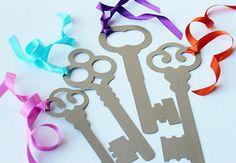 Alice in Wonderland Party Decoration Prop- 6 Large  Intricate Skeleton Keys- Kraft