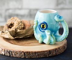 Ceramic Blue Octopus Coffee Mug w/ Tentacle Handle by Comfify - Octopus w/ 8 Squirmy 3D Tentacles & Big Eye - Perfect Coffee Gift for Gamers, Cthulhu Fans and Steampunk Enthusiasts - 12 oz. - Cool Kitchen Gifts