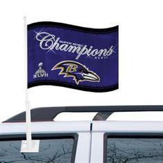 Baltimore Ravens Super Bowl XLVII Champions Logo Car Flag