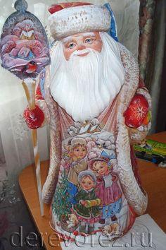 Фигурка деда мороза, сюжетная роспись