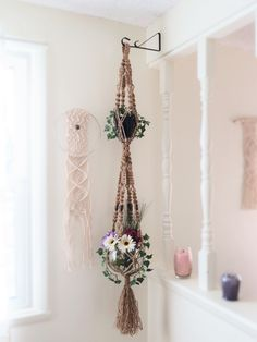 2 tier jute pot holder, double, jute macrame plant hanger, natural jute, beaded plant hanger, jute plant hanger, hippie, bohemian, 70s style
