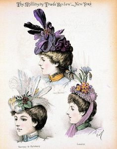 Modelès de Madame Carlier, 1897 lithograph.    Fashion plate showing three bust portraits of Jane Harding, Baronne de Carlsberg and Suzanne, actresses at the Gymnase theater, Paris, wearing hats designed in the Paris establishment of Madame Carlier.  [viaLibrary of Congress / submittedbyantiquememes]