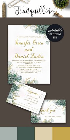 Green Wedding Invitation Boho, Succulent Wedding Invitation Set, Gold Wedding Invitation, Botanical Greenery Floral wedding Invitation Ideas. tranquillina.etsy.com