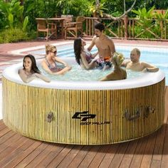 Goplus 4 Person Inflatable Hot Tub Outdoor Jets Portable Heated Bubble Massage Spa Set w/Filter & Repair Kit (Beige)
