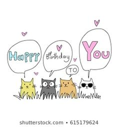 Happy Birthday Drawings, Happy Birthday Animals, Happy Birthday Illustration, Birthday Card Drawing, Happy Birthday Wishes Cards, Happy Birthday Sister, Happy Birthday Images, Funny Birthday Cards, Birthday Quotes