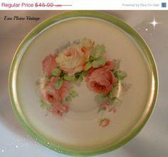 Antique Transferware German Porcelain Pink Cabbage Roses Serving Bowl Celebrate