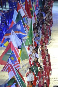 Flagbearers parade during the closing ceremony of the 2012 London Olympic Games on August 12, 2012 at the Olympic stadium in London.
