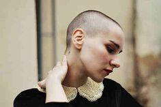 shaved head / buzz cut / elegant
